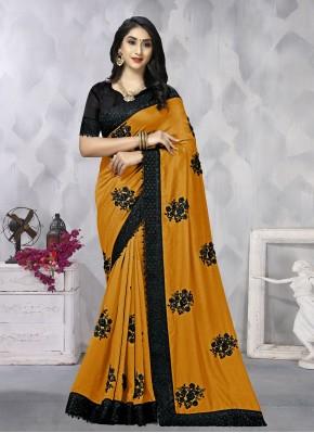 Gratifying Mustard Vichitra Silk Contemporary Saree