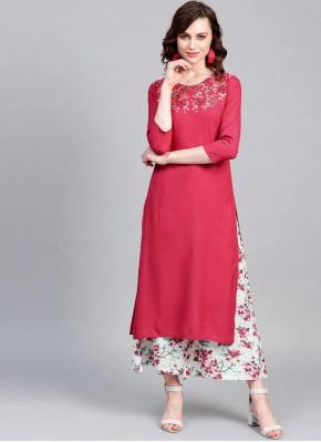 Gratifying Printed Viscose Pink Party Wear Kurti