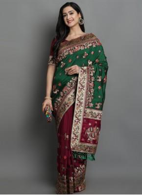 Green and Magenta Silk Patola Print Designer Traditional Saree