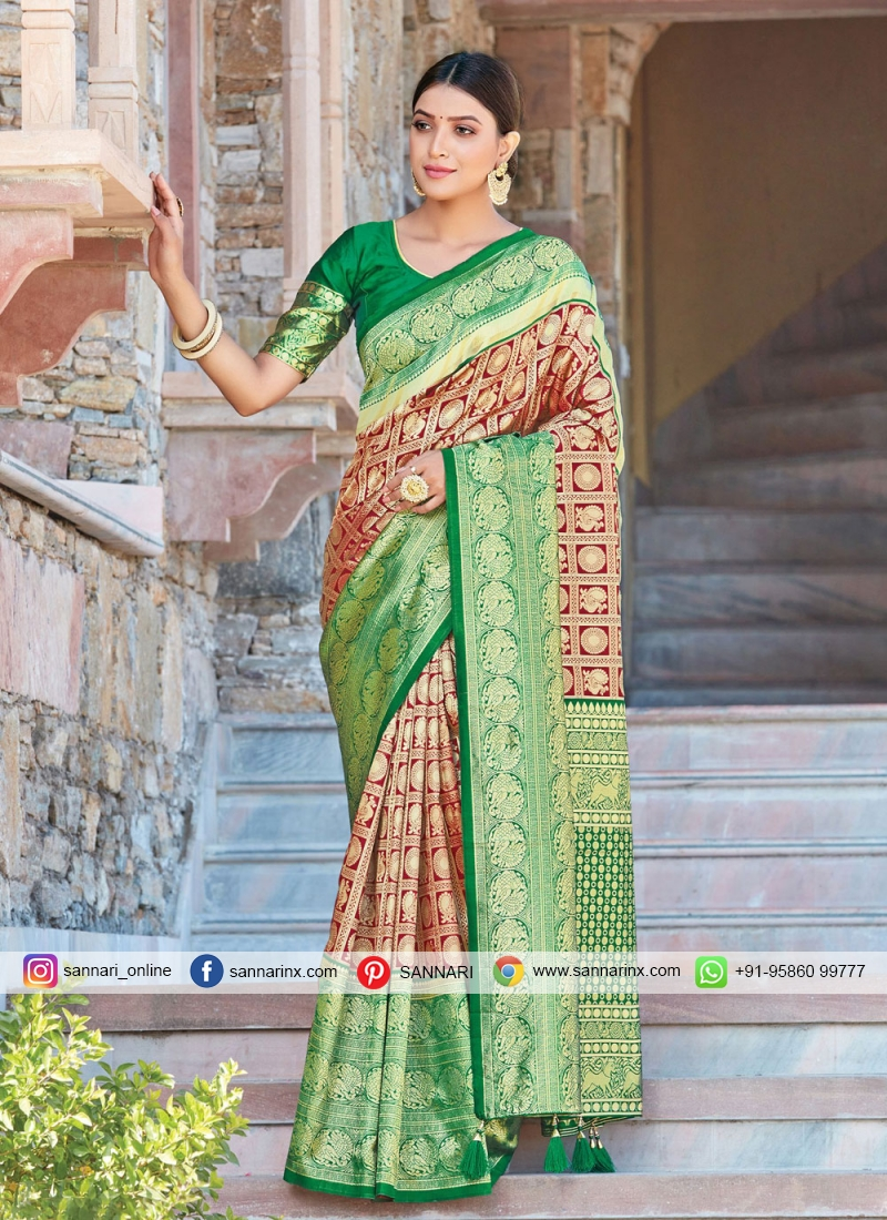 Green and Maroon Silk Festival Traditional Designer Saree