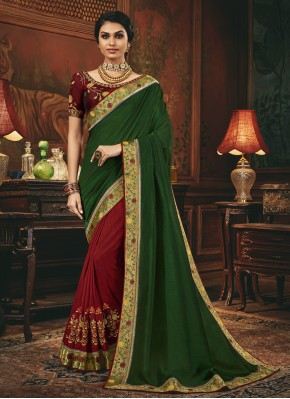 Green and Maroon Silk Patch Border Designer Half N Half Saree