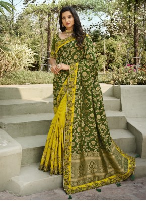 Green and Yellow Banarasi Silk Mehndi Half N Half Designer Saree