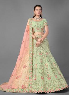 Green Art Silk Reception Designer Lehenga Choli