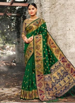 Green Banarasi Silk Party Bollywood Saree