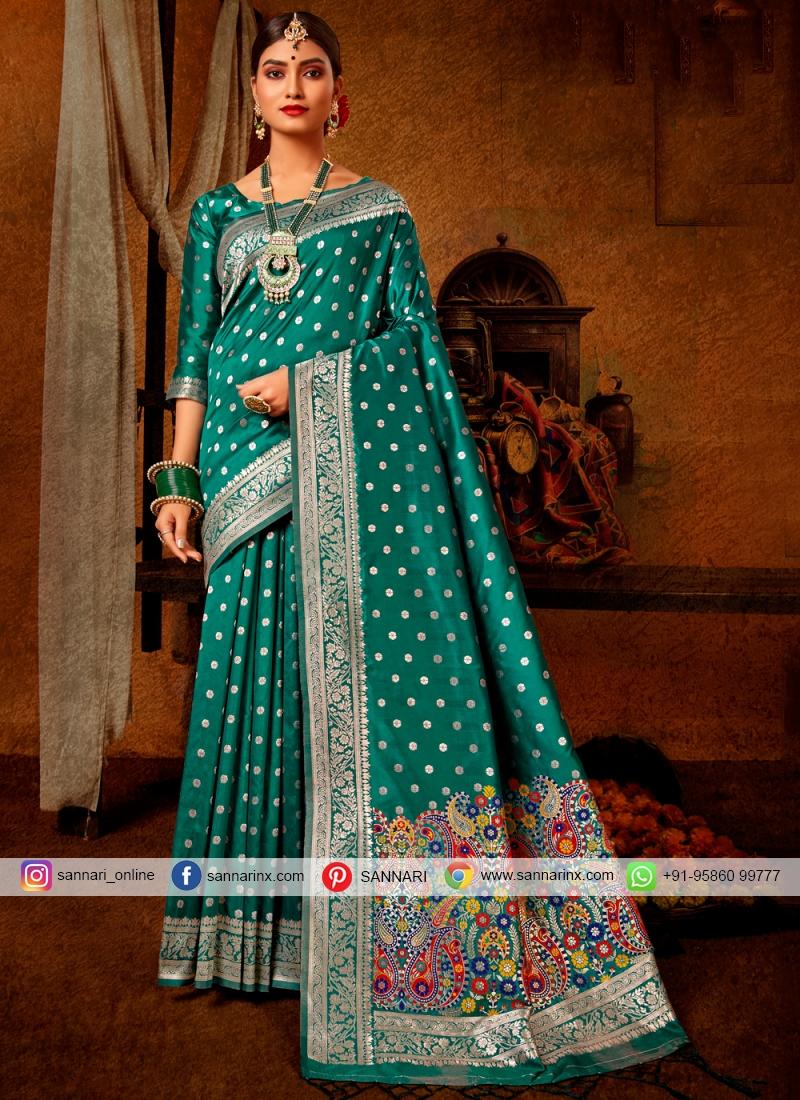 Green Banarasi Silk Weaving Traditional Saree