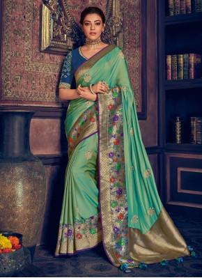 Green Ceremonial Silk Contemporary Saree