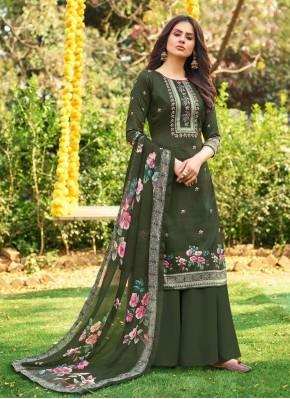 Green Cotton Designer Palazzo Salwar Kameez