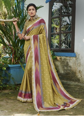Green Digital Print Contemporary Saree