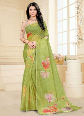 Green Digital Print Fancy Fabric Printed Saree