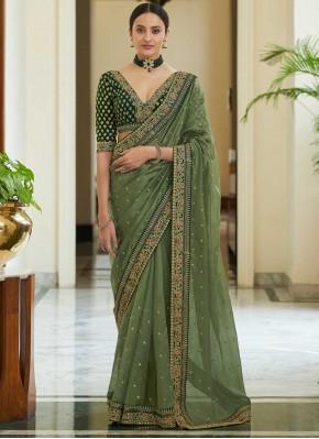 Green Dori Work Organza Classic Saree