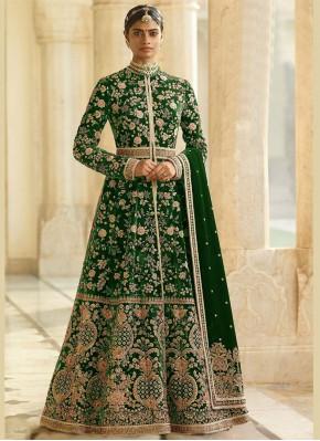 Green Dori Work Reception Anarkali Suit