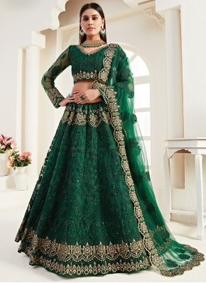 Green Embroidered Bridal Lehenga Choli