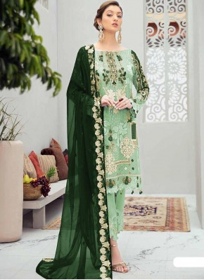 Green Embroidered Designer Pakistani Suit