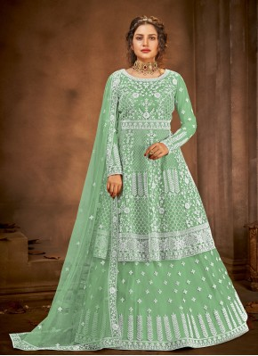 Green Embroidered Festival Long Choli Lehenga