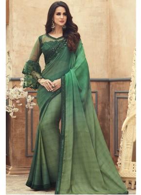 Green Embroidered Pure Chiffon Saree