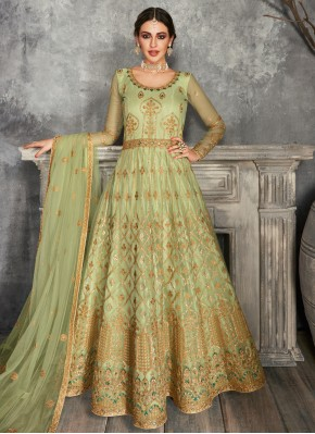 Green Embroidered Sangeet Floor Length Anarkali Suit