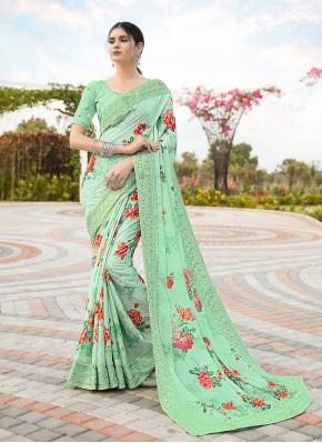 Green Embroidered Satin Classic Designer Saree