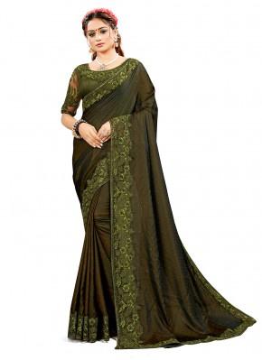 Green Embroidered Satin Silk Traditional Saree