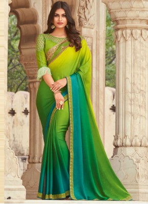 Green Embroidered Shaded Saree