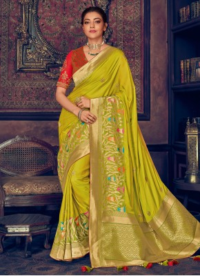 Green Embroidered Silk Saree