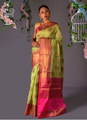 Green Fancy Chanderi Cotton Traditional Saree