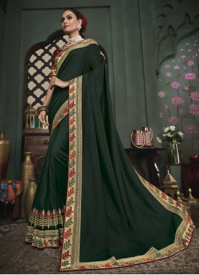 Green Fancy Fabric Festival Trendy Saree