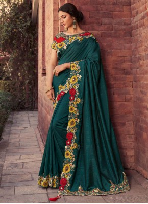 Green Fancy Fabric Mehndi Designer Saree