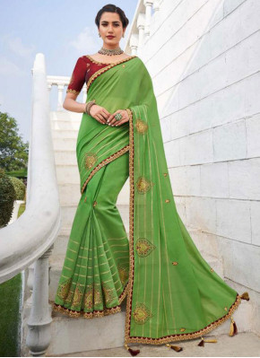 Green Fancy Fabric Party Trendy Saree