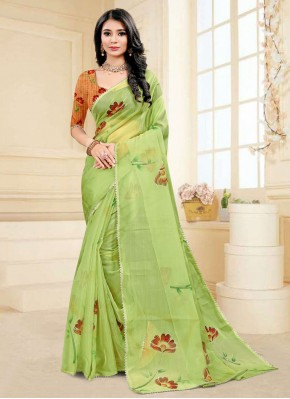 Green Fancy Fabric Printed Saree