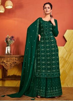 Green Fancy Faux Chiffon Designer Palazzo Salwar Suit