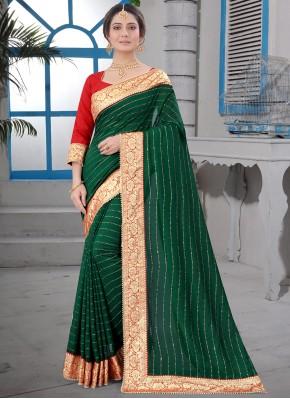 Green Festival Contemporary Saree