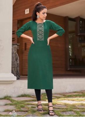 Green Festival Cotton Party Wear Kurti