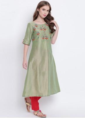 Green Festival Cotton Silk Party Wear Kurti