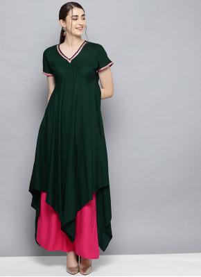 Green Festival Rayon Party Wear Kurti