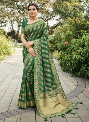 Green Festival Silk Designer Traditional Saree