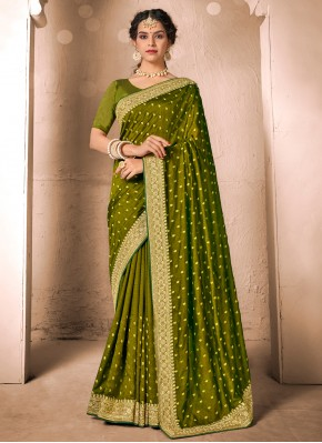 Green Festival Silk Designer Traditional Saree