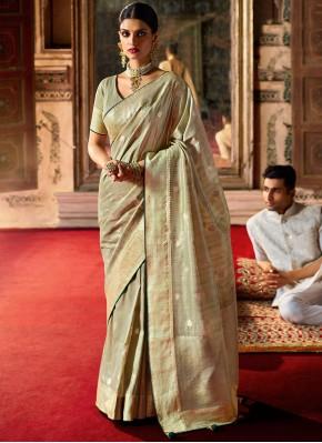 Green Festival Silk Traditional Designer Saree