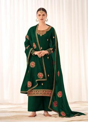 Green Festival Tussar Silk Designer Pakistani Suit