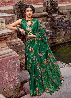 Green Floral Print Cotton Printed Saree