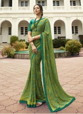 Green Georgette Printed Classic Saree