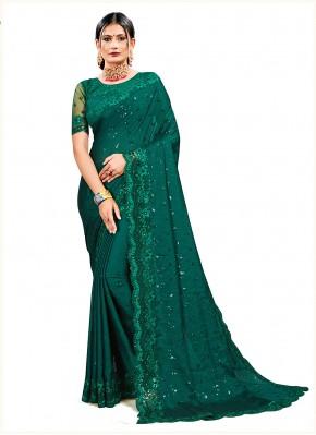 Green Georgette Satin Ceremonial Designer Saree