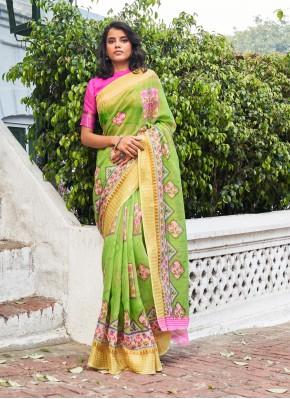 Green Linen Festival Classic Designer Saree