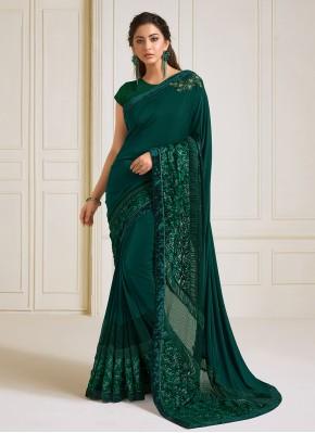Green Lycra Sequins Trendy Saree