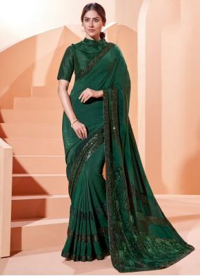 Green Lycra Traditional Saree