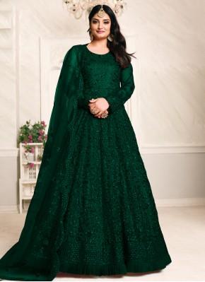 Green Mehndi Net Floor Length Anarkali Suit