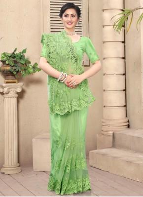 Green Net Contemporary Saree