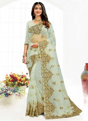 Green Net Embroidered Contemporary Saree