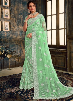 Green Net Reception Classic Designer Saree