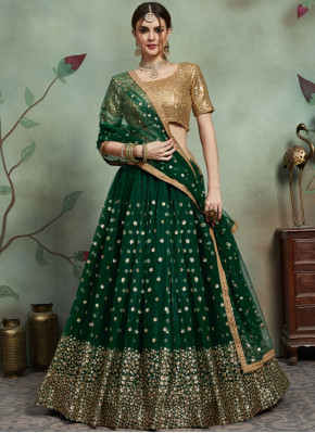 Green Net Trendy Lehenga Choli
