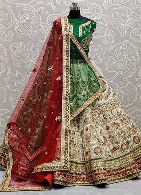 Green, Off White and Red Silk Lehenga Choli